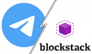 Telegram and Blockstack logos juxtaposed. See footer for rights and source attribution.